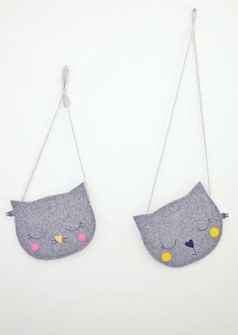 Kids tas, portemonnee voor meisje, cadeau voor het meisje, kat zak, Mini grijs childrens zak, tas van de kinderen, kinderen portemonnee, dierlijke tas, handgemaakt, meisje tas, grijs, zwart