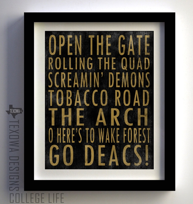 Another great piece of Demon Deacon art!  Wake Forest Demon Deacons Subway Scroll Art Print. $25.00, via Etsy.