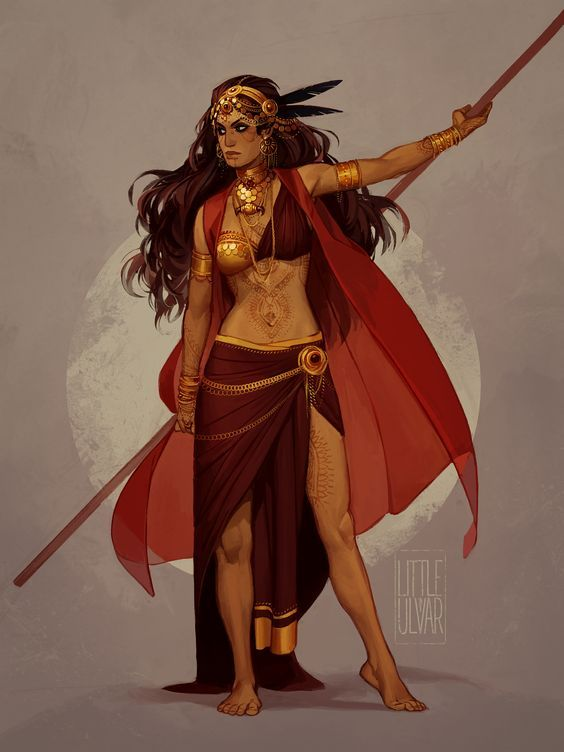 comm: Elisheva by littleulvar female ranger fighter barbarian gypsy quarterstaff armor clothes clothing fashion player character npc   Create your own roleplaying game material w/ RPG Bard: www.rpgbard.com   Writing inspiration for Dungeons and Dragons DN