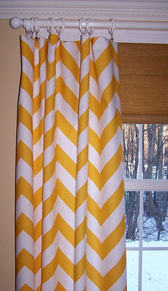 "YELLOW CHEVRON CURTAINS Premier Fabric Slub Linen Like Two Custom Drapery Panels Narrow 24"" White Background Zippy Large Zig Zag"