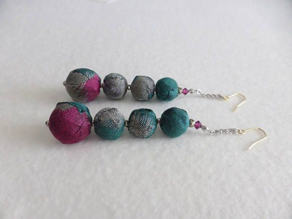 EMOR-21212  A pair earrings  with Kimono fabric and Silver