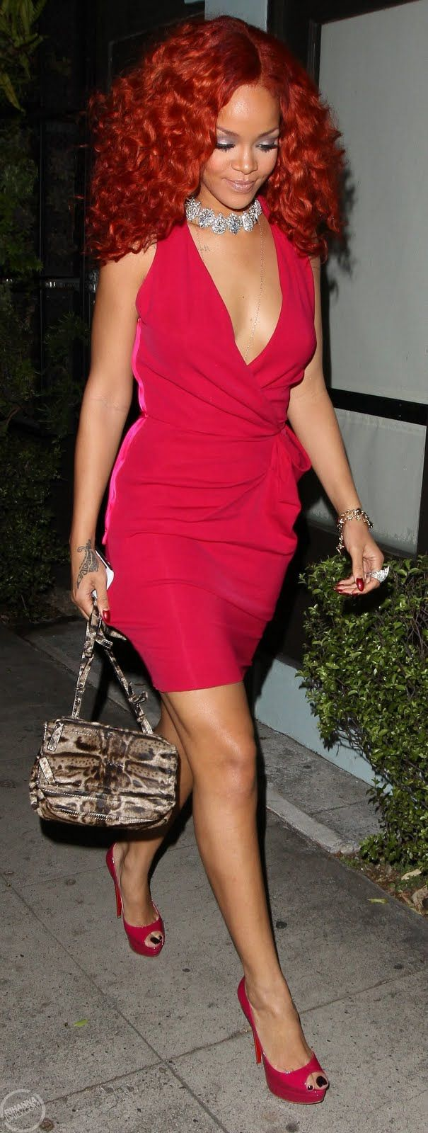 Rihanna, Here she is again in a tasteful RED dress that just shouts Beautiful! I love this look also! People are always telling me how wonderful I look in RED! It also gives you good energy and chi! I love it!