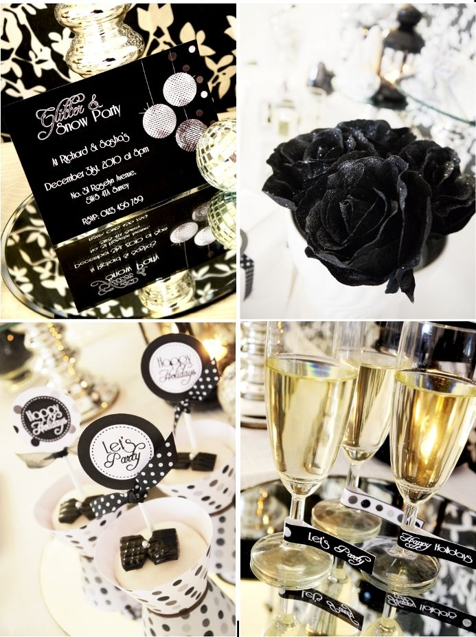 New Year's Eve Party Black and White Decor