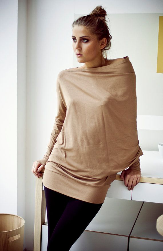 Blouse with buttons Beige blouse Asymmetrical blouse by LeMuse