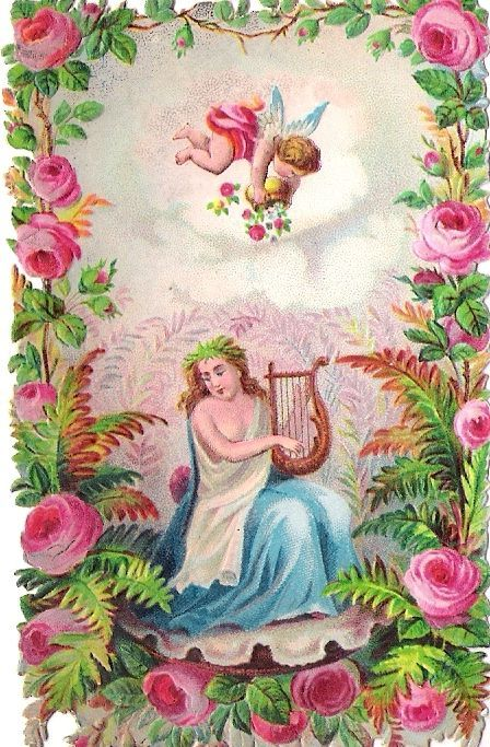 Oblaten Glanzbild scrap die cut chromo Engel angel cupid Amor Lady Dame femme