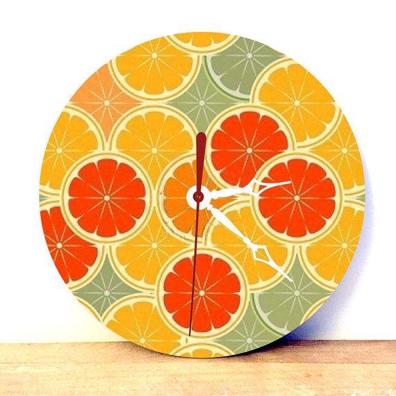 Orange Wall Clock  Orange Decor  Kitsch Ornament  by JDzigner
