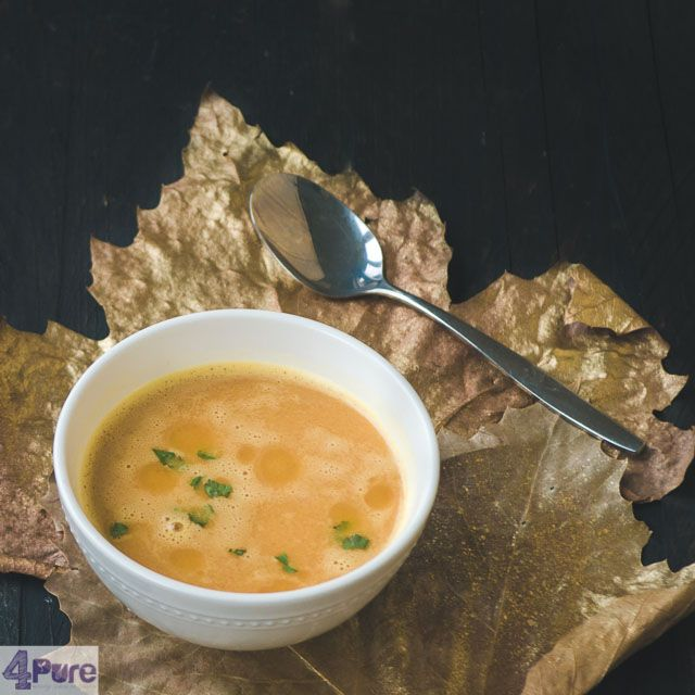 Pumpkin soup   - English recipe - This creamy, slightly sweet pumpkin soup is a delicious lunch dish or entreein fall or winter, but certainlyon the Thanksgiving menu.