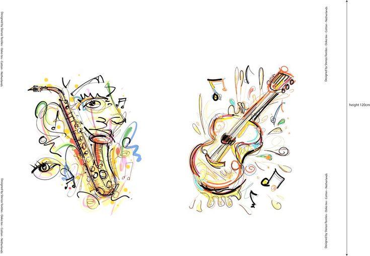 Stenzo18 11896-02 Tricot digitaal paneel fantasie saxofoon gitaar off-white/multi