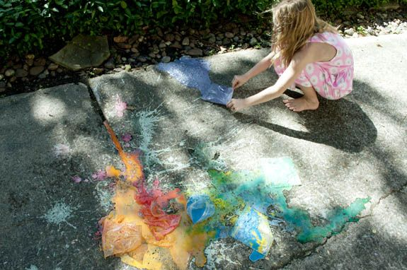 exploding sidewalk chalk bags what to do when kids are bored Exploding Chalk Bags