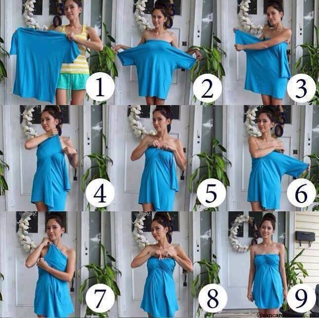 Make a cute dress out of a big t-shirt