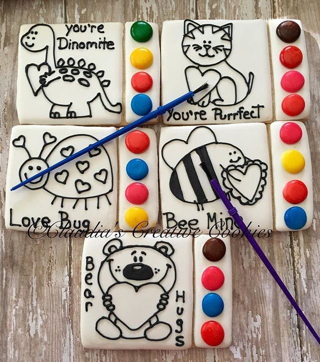 Paint your own cookies for Valentines Day! #valentinecookies #decoratedcookies #decoratedsugarcookies…