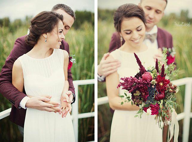 Антон и Татьяна: богемная свадьба в бордовом цвете