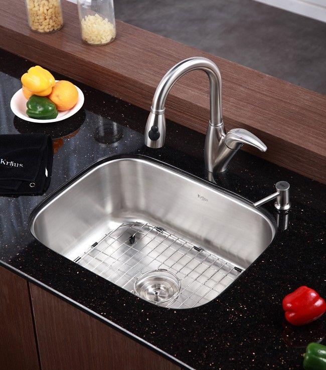 Kraus 23 Inch Undermount Single Bowl 16 Gauge Stainless Steel Kitchen Sink  | Kitchen Inspiration | Pinterest | Stainless Steel Kitchen, Sinks And  Stainless ...