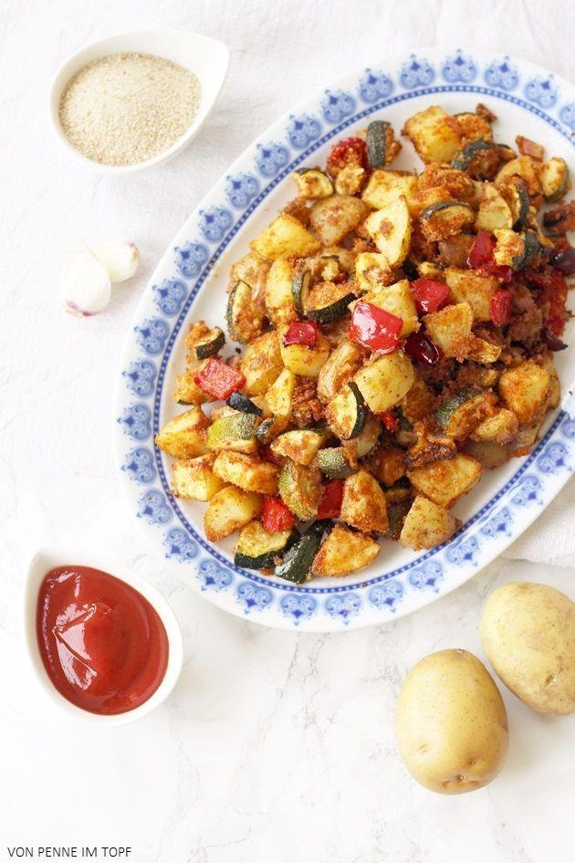 Super knuspriges Kartoffel - Zucchini - Gemüse aus dem Ofen | Penne im Topf…