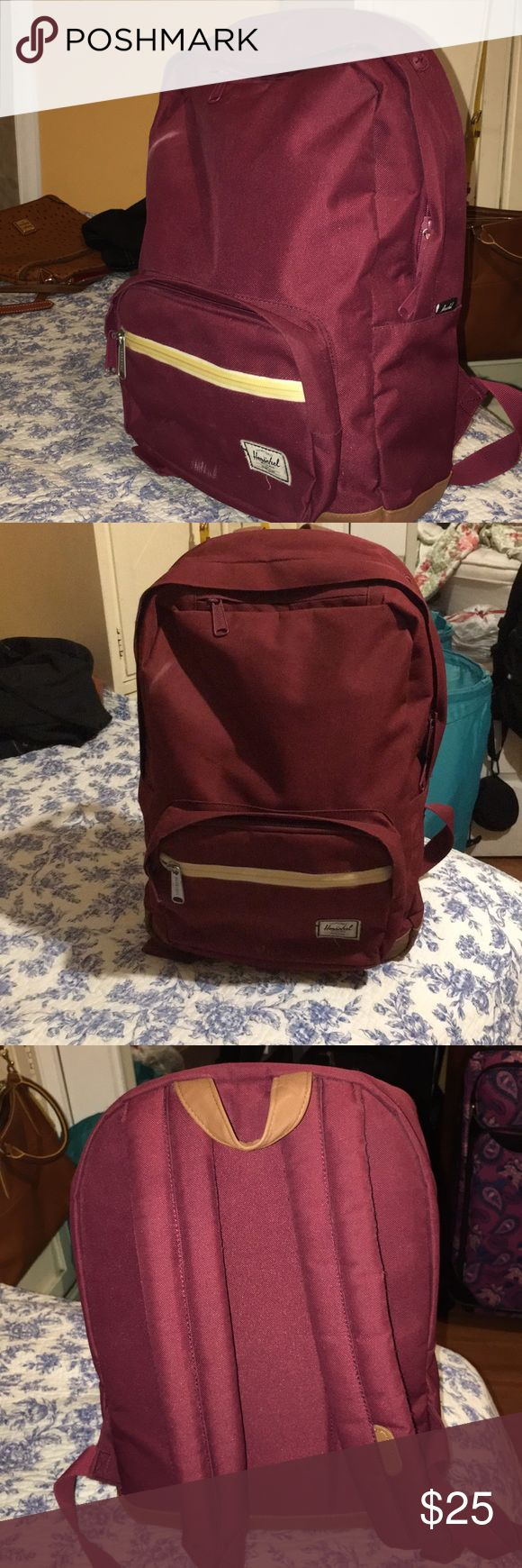 """Herschel Backpack Maroon Herschel Backpack with laptop sleeve  Pretty spacious, at least 14"""" in height The zipper pocket on top has been super convenient, easily fits an iPhone 6s  Some slight scuff marks that could easily be removed w fabric cleaner but otherwise good condition! Only used a few times for travel Herschel Supply Company Bags Backpacks"""
