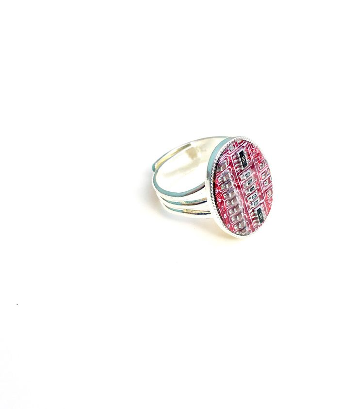 #cyberpunk #costumejewelry #costumering #motherboard #geek #computer #recycled #handmade #adjustablering #tech   A personal favourite from my Etsy shop https://www.etsy.com/uk/listing/560138021/red-motherboard-ring-adjustable-computer
