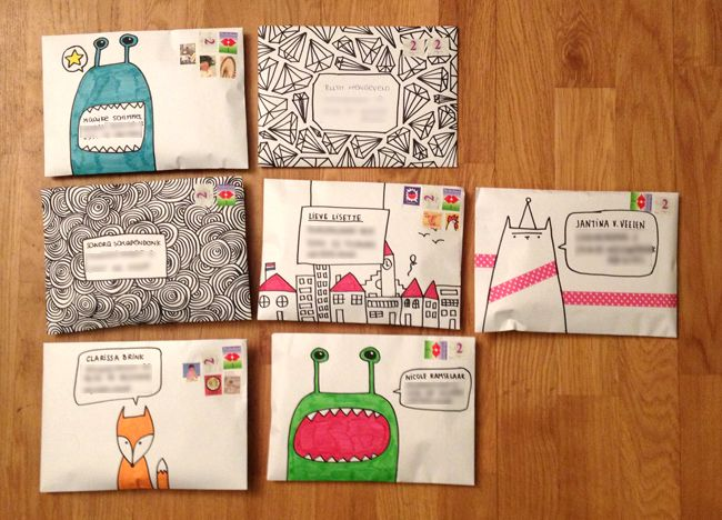 Decorate your envelopes {source: Snailmail Magazine}. This site has some really inventive and artsy printables.