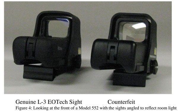 Recognizing counterfeit L-3 EOTech Sights