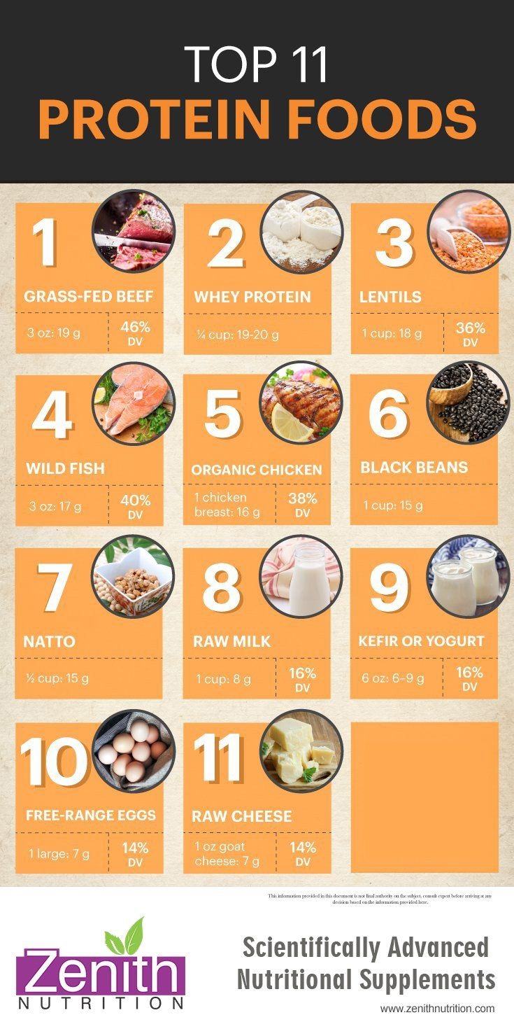 Top 11 Protein Food. Grass fed beef, Whey protein, lentils, wild fish, organic chicken, black beans, natto, raw milk, kefir or yogurt, free range eggs, raw cheese. Best supplements from Zenith Nutrition. Health Supplements. Nutritional Supplements. Health Infographics