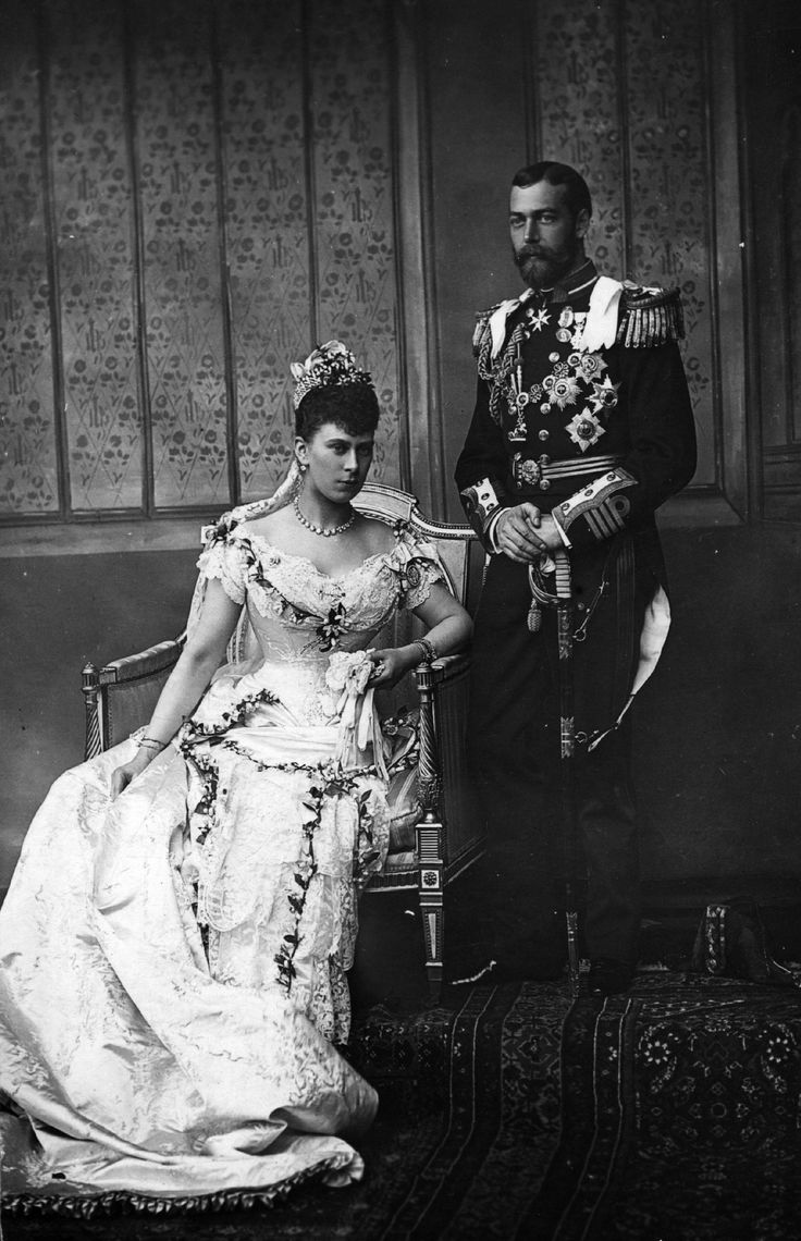 King George V of Britain and Mary of Teck on their wedding day.  He was Queen Victoria's grandson, she was of the British royal family and her father was a German Duke.  Parents of King Edward VIII and King George VI.  Grandparents of Queen Elizabeth II.