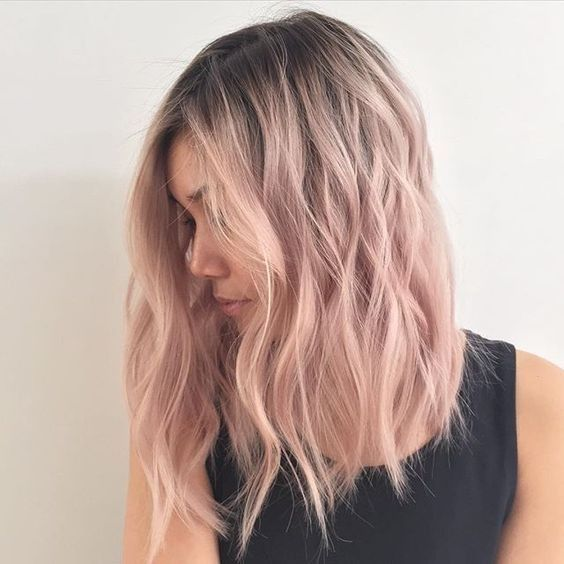 Can't find source just yet - rose gold ~ lob-hair-cuts-2017-pastel-pink-tones-ombre-hairstyles