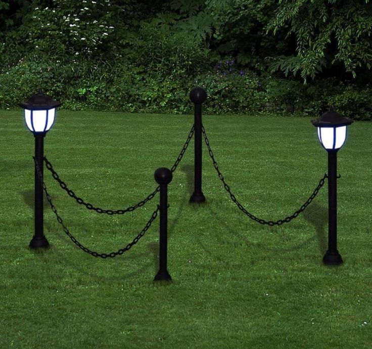 Garden Solar Lights Two Led Lamps Outdoor Chain Fence Ground Spike Yard Decor Uk