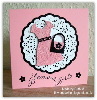 Flower Sparkle: Pink Velvet Dress Glamour Girl Card - Make My Monday Pink & Black Challenge