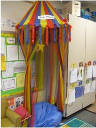 Safe Place Area based on Conscious Discipline method.  The children can use the safe place as an area to  and calm themselves and have some time alone if they feel they need it.
