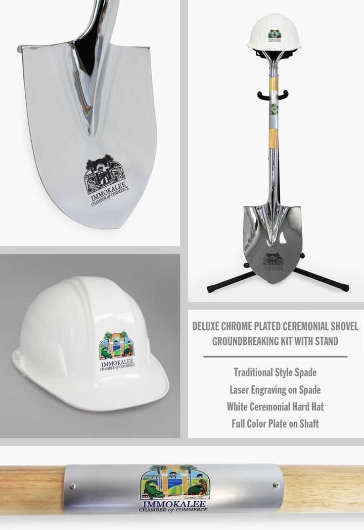 Deluxe Chrome Plated Ceremonial Shovel Groundbreaking Kit , Traditional Style Spade, Personalized