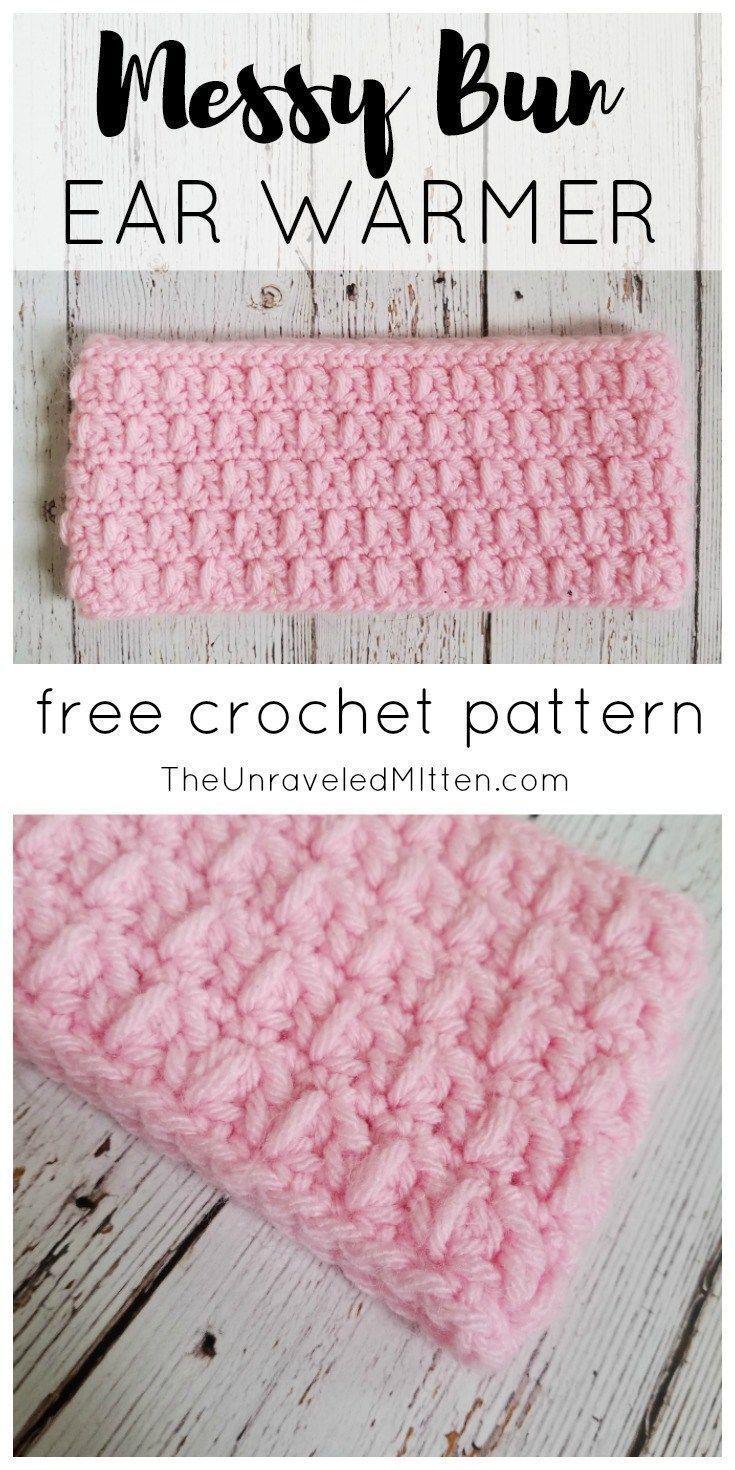 Messy Bun Ear Warmer | Free Crochet Pattern | The Unraveled MItten | Wide Crochet Headband | Easy | Quick Crochet Project #messybunhat #crochet #freecrochetpattern