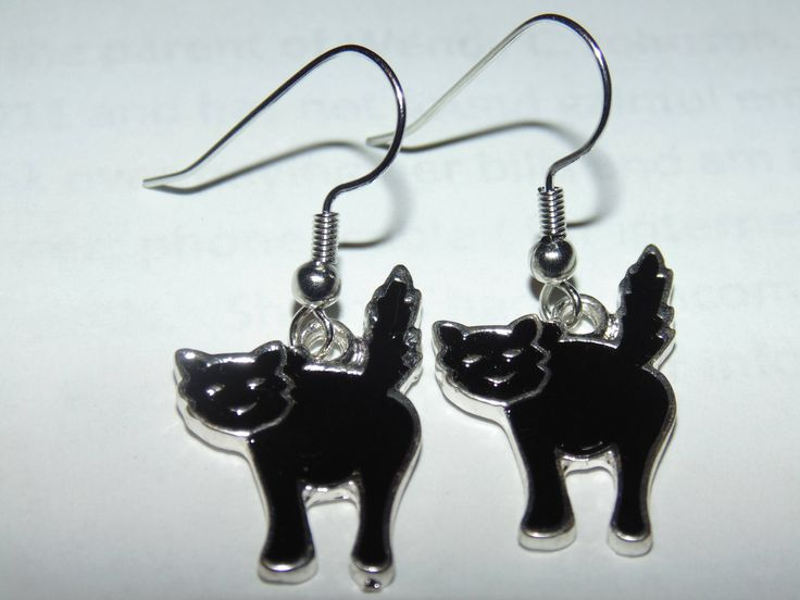 Excited to share the latest addition to my #etsy shop: Black cats enameled metallic charm Halloween earrings http://etsy.me/2E6QOqv #jewelry #earrings #black #earwire #no #girls #silver #animal #halloween