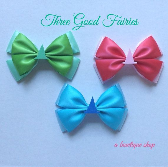good fairies hair bow  pink green or blue by abowtiqueshop on Etsy