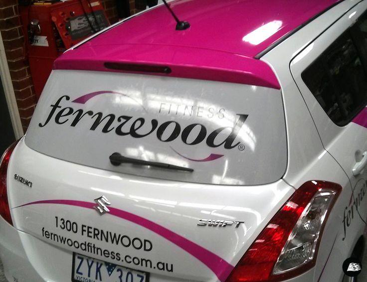 Suzuki Swift Vehicle Decals, Hot Pink, Swirls, Fernwood Fitness