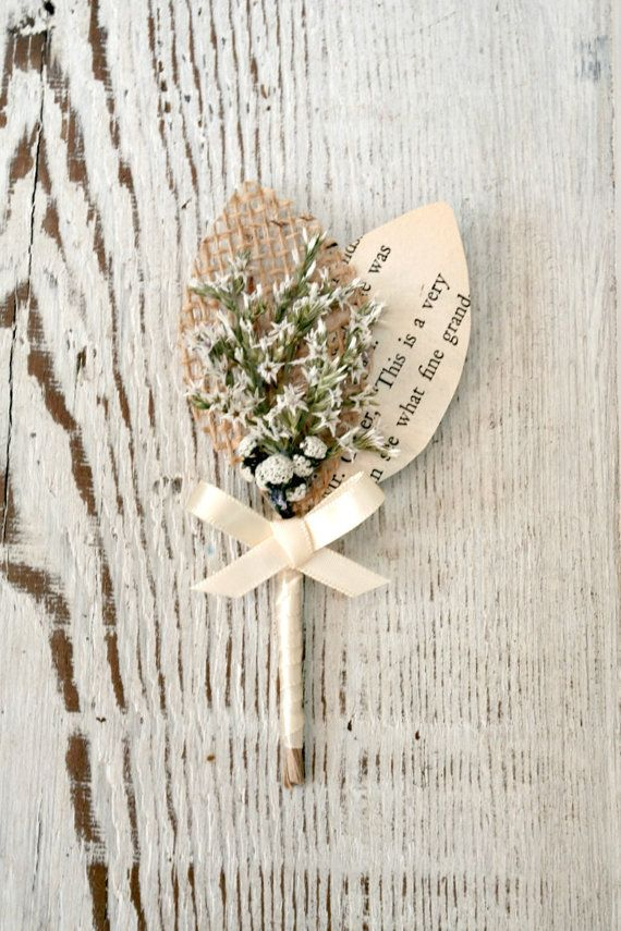 Rustic Handmade Wedding Boutonniere, White Dried Flowers, Burlap Leaf, Vintage Book Page Leaf, Leaves, Natural - TheSunnyBee