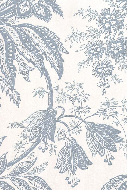 Jacobean Toile Wallpaper Grey blue on stone floral design wallpaper