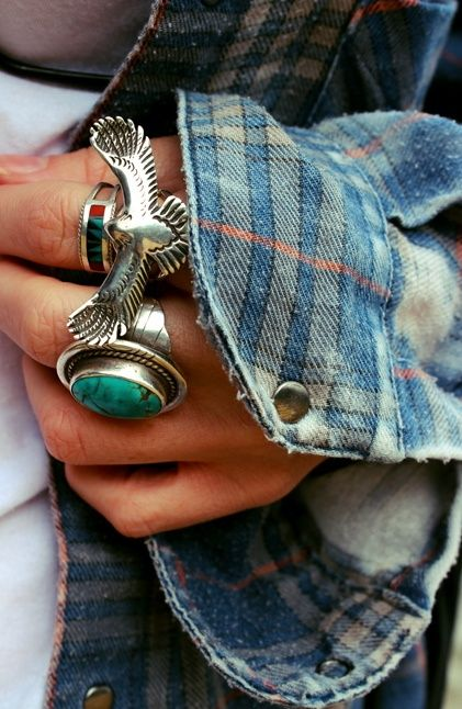 sun washed flannel + Native American jewelry