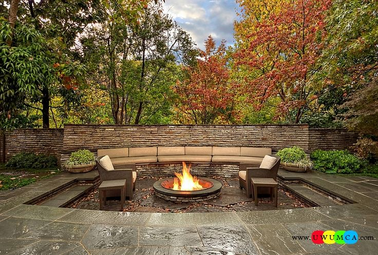 Outdoor / Gardening:Create Outdoor Lounge With Sunken Seating Area Ideas Build Conversation Pits Sunken Sitting Areas In Pool Garden Outside Decor Design Sunken Fire Pit With A Subtle Change In The Various Levels Of The Outdoor Space Elevate The Style Quotient Of Your Outdoor Lounge With Sunken Seating Area