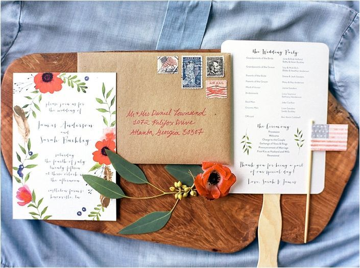 4th of July, red white and blue wedding invitation suite with poppy accents.    4th of July Wedding Inspiration Shoot   Bride Link
