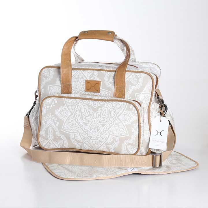 Persia White on Linen Nappy Bag