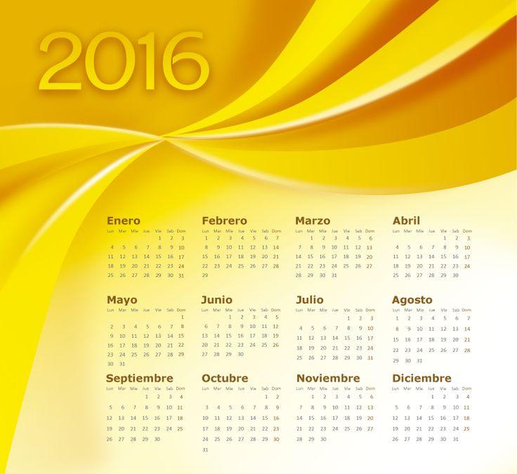 Calendario 2016 en español de simples formas abstractas en espiral, está en español (castellano). En Vector y PSD. Descarga gratis.