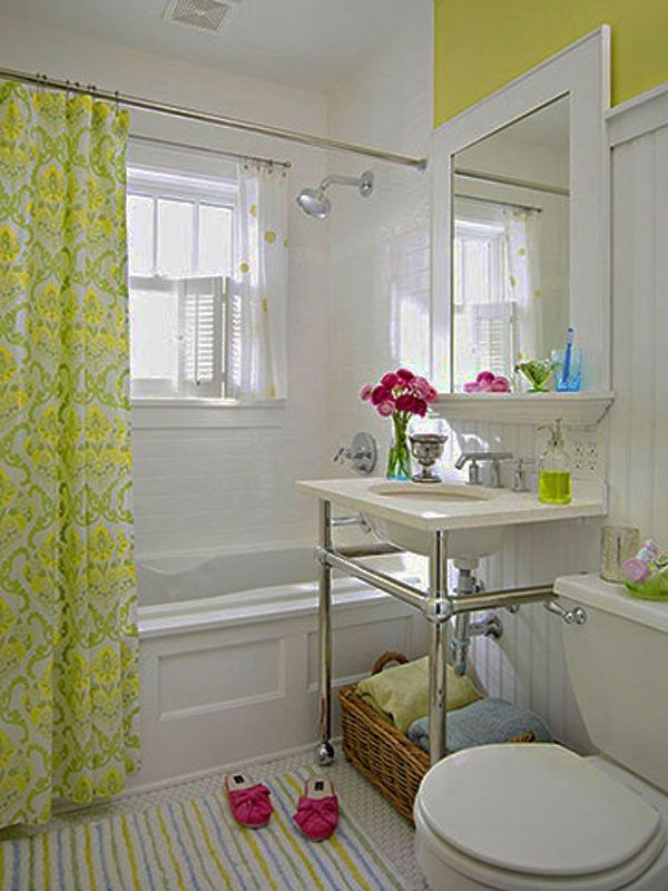Decoration, White Wall Color Small Bathroom Decorating Ideas Feat Green And  Yellow Motive Curtain White Bathtub Also Striped Colorful Mat On  Extraordinary ...
