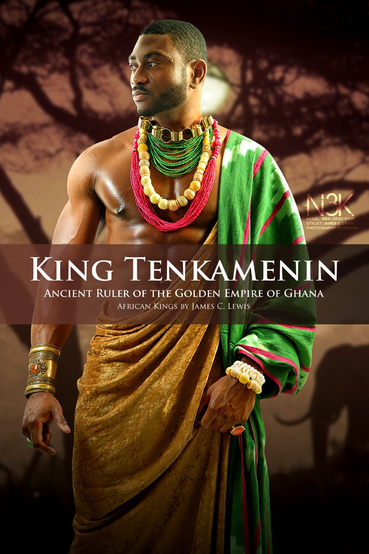 AFRICAN KING SERIES by International Photographer James C. Lewis AFRICAN KING SERIES | King Tenkamenin of Ghana (1037-1075 AD) Through careful management of gold trade across the Sahara, Tenkamenin's empire flourished economically yet his greatest strength was in government. He listened to his people and provided justice for all of them. His principles of democratic monarchy and religious tolerance make him one of the great models of African rule. | Model: Ebai Ayuk-Enow