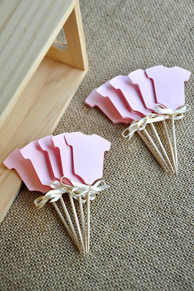 BABY SHOWER CUPCAKE PICKS - Baby Girl Shower Cupcake Toppers 12CT.  Ships in 1-3 Business Days.  Pink Onesie Cupcake Picks.