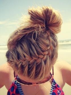 french braid & bun... I wish I could French braid
