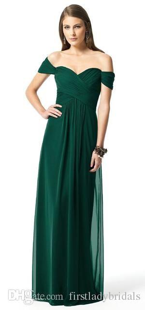 Dark Green Bridesmaid Dresses 2016 Chiffon Off Shoulder Sweetheart Greek Convertable Maid Of Honor Gowns Elegant Romantic Bridesmaid Dresses Sale Bridesmaid Dresses From Firstladybridals, $55.4| Dhgate.Com