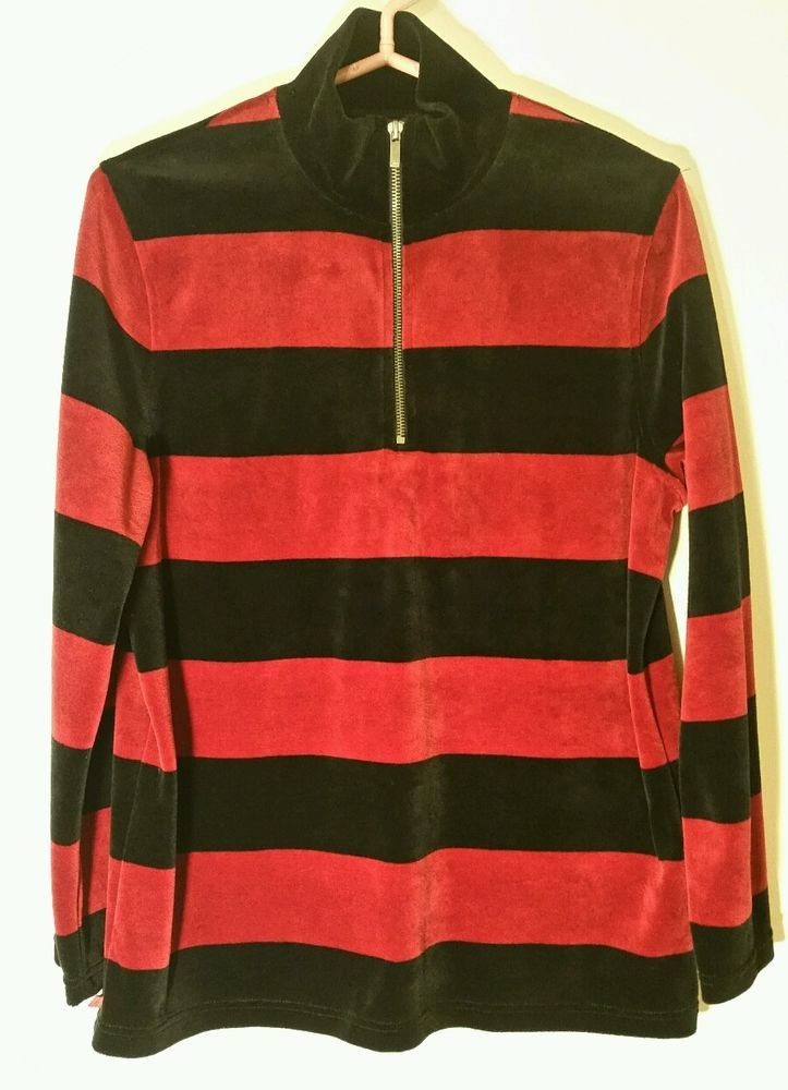 Lauren Ralph Lauren Half Zip Sweater Men Black/Red Stripe Medium #LaurenRalphLauren #12Zip #Formal