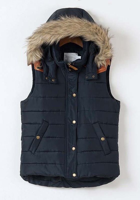 Navy Blue Faux Fur Hooded Vest