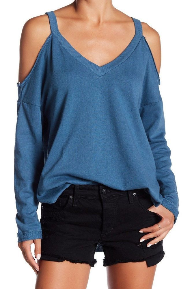 0cfc420ebd036 Melrose and Market Womens Cold Shoulder V-neck Long Sleeve Top Teal Size  Small  MelroseandMarket  KnitTop  Casual