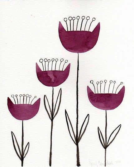Scandinavian Flowers by printmakerjenn on etsy