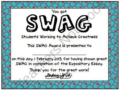 Student SWAG Awards Printable from Kirks Corner on TeachersNotebook.com (1 page)  - Use this template to reward students for having SWAG (Students Working to Achieve Greatness)!